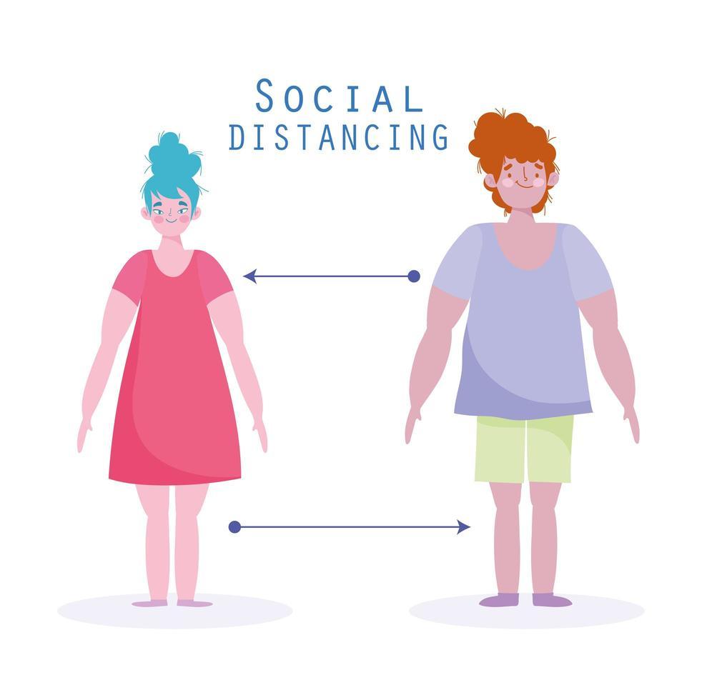 distanciamiento social de hombre y mujer para mantener una distancia adecuada vector
