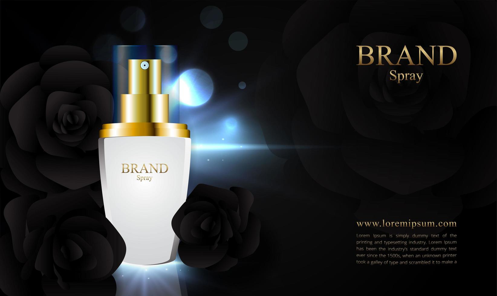 elegante imagen de rosa negra para publicidad cosmética vector