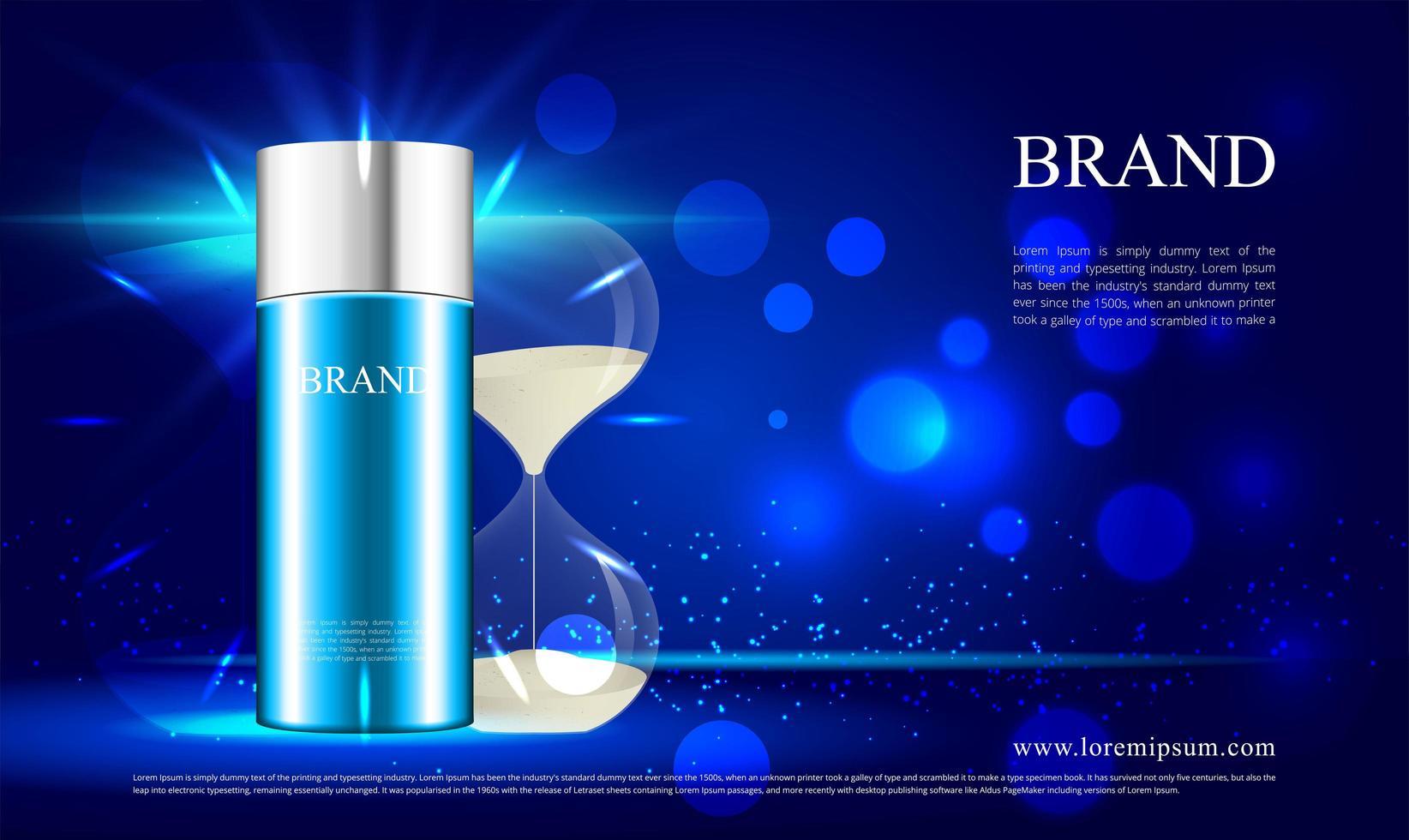 Fondo de reloj de arena para publicidad cosmética de reducción de arrugas. vector