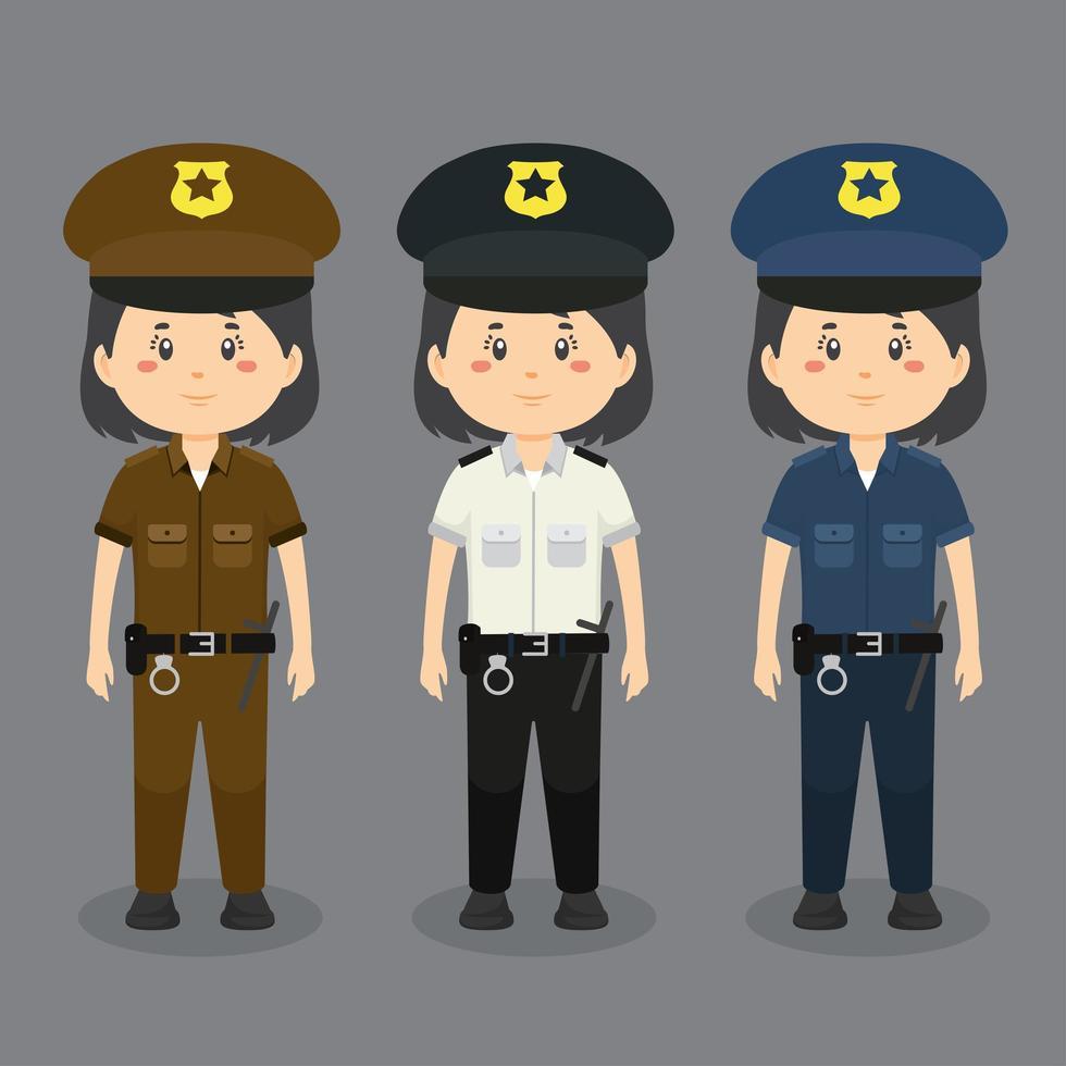 personaje de mujer policía con varios uniformes vector