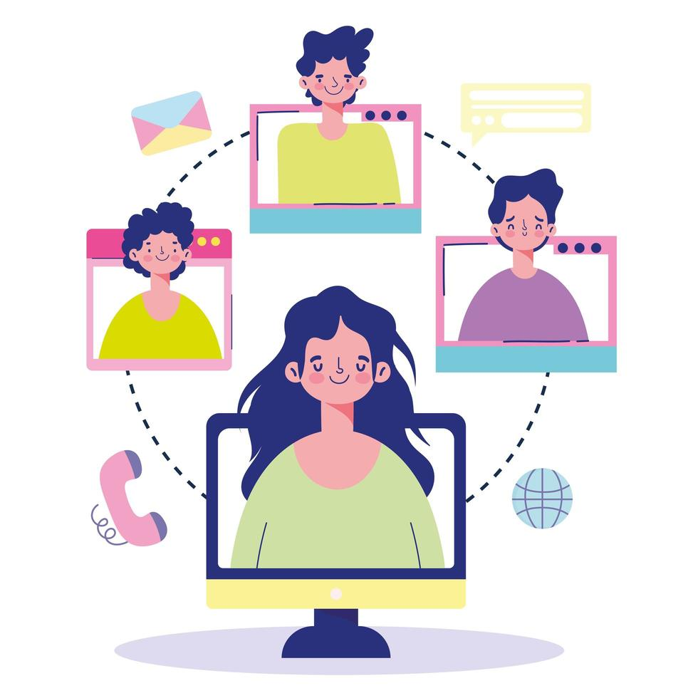 reunión en línea con personas en pantallas de computadora vector