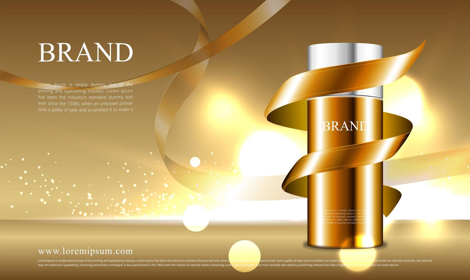 concepto de cinta dorada para publicidad de cosméticos vector
