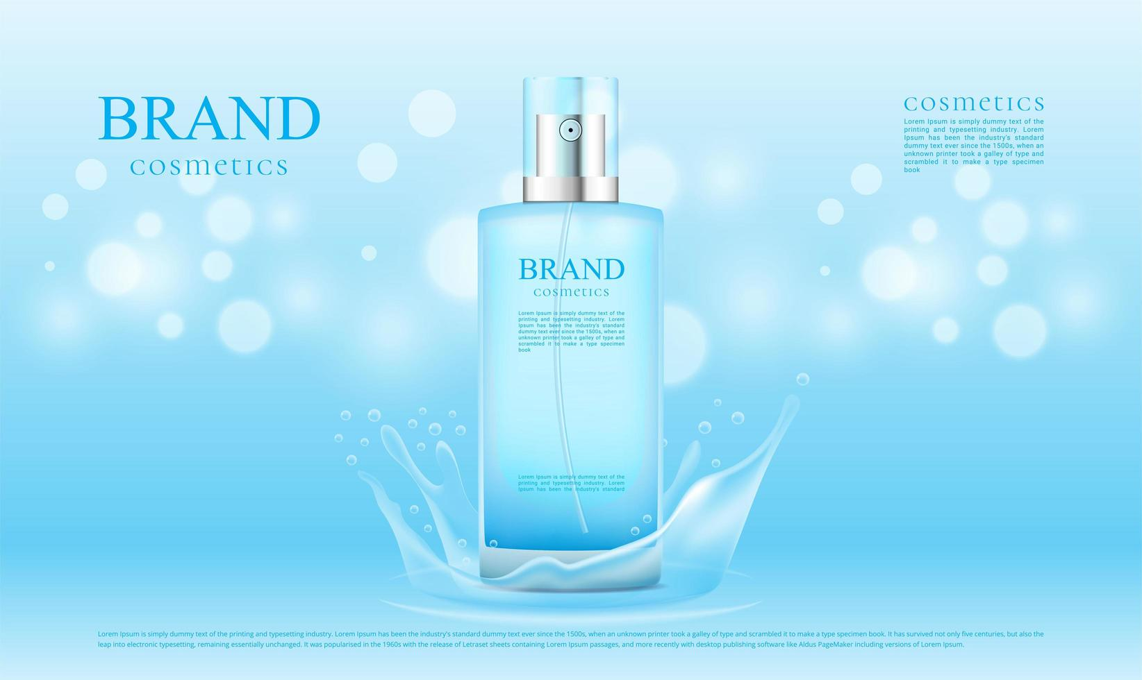 salpicaduras de agua azul para publicidad de productos cosméticos vector