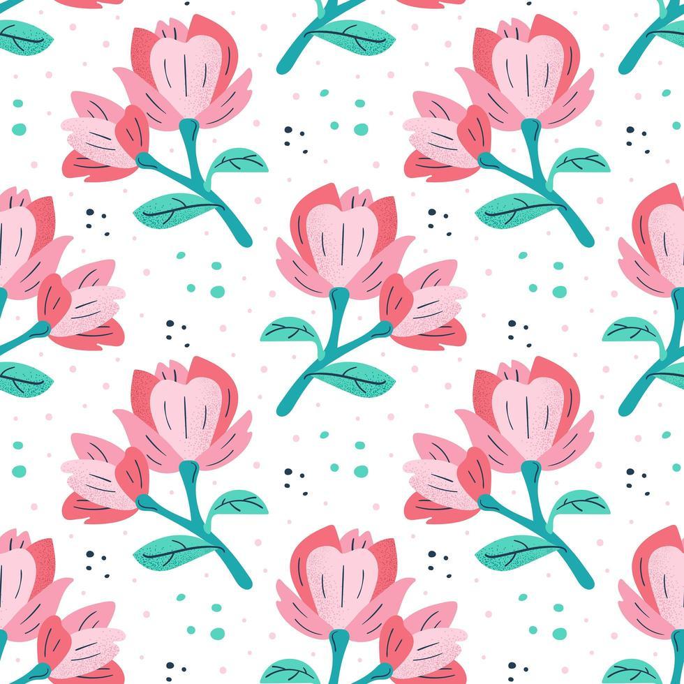 pequeñas magnolias rosas vector