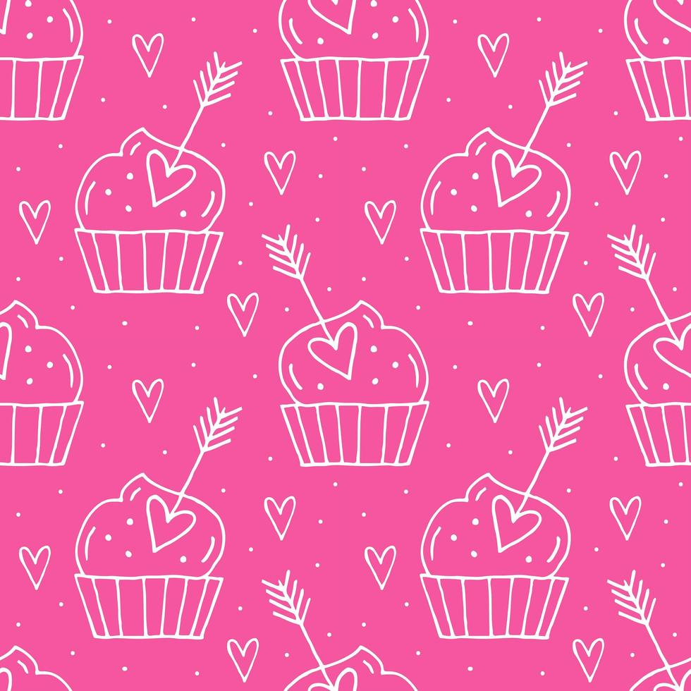 muffins con corazones vector
