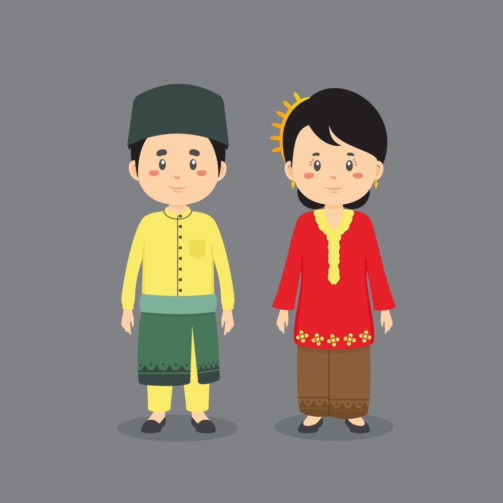 vistiendo traje tradicional de Malasia vector