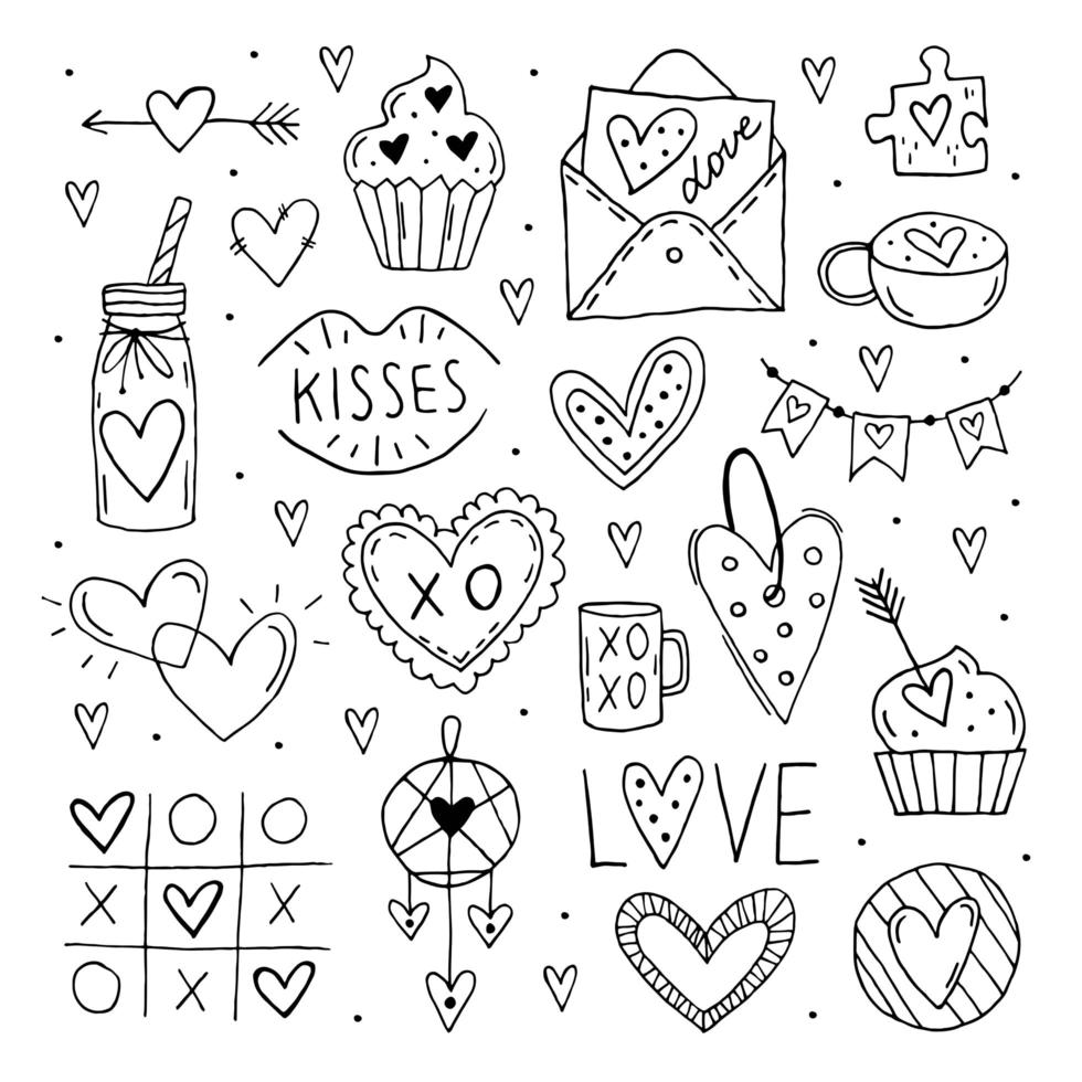 día de San Valentín gran doodle conjunto de elementos, imágenes prediseñadas. vector