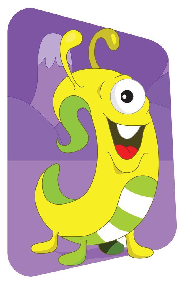 monstruo alienígena parecido a un gusano amarillo sobre púrpura vector