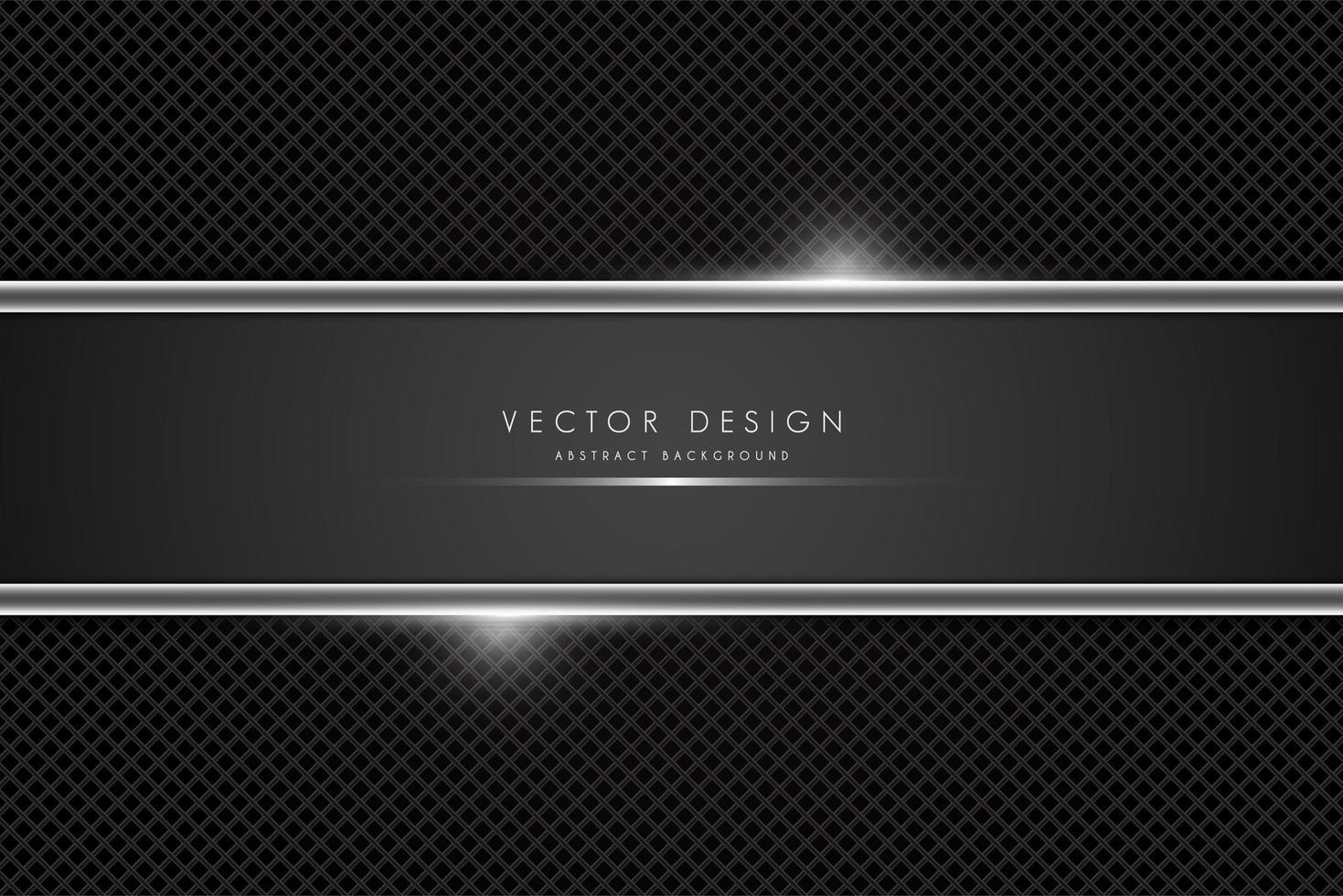 Fibra de carbono metálica y pancarta gris con líneas brillantes. vector