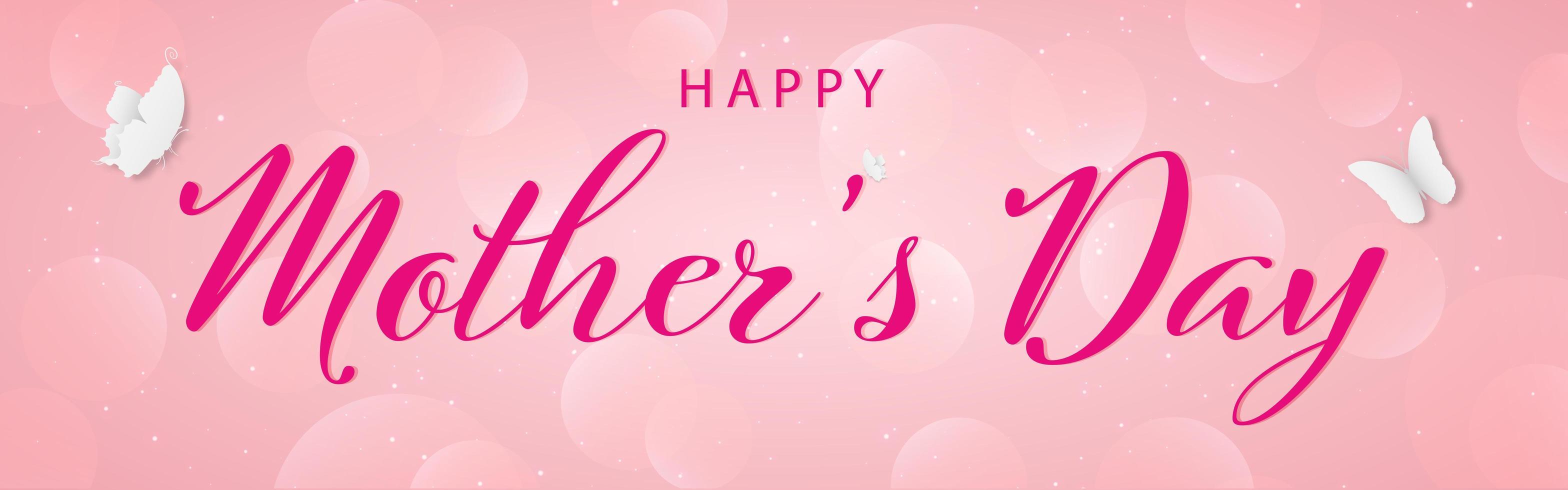 feliz día de la madre elegante banner de letras con mariposas vector