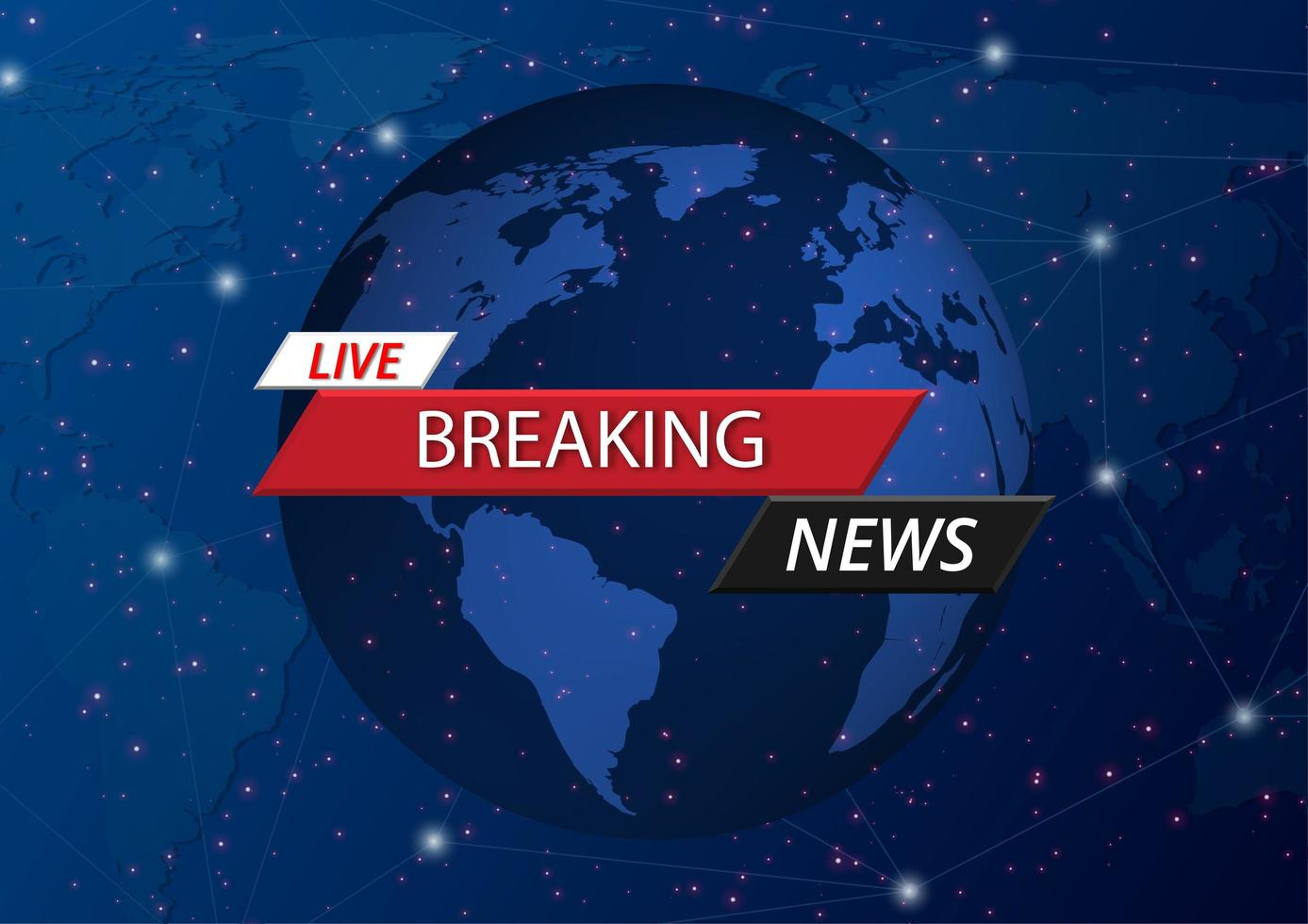 Live breaking news over world and space screen saver vector