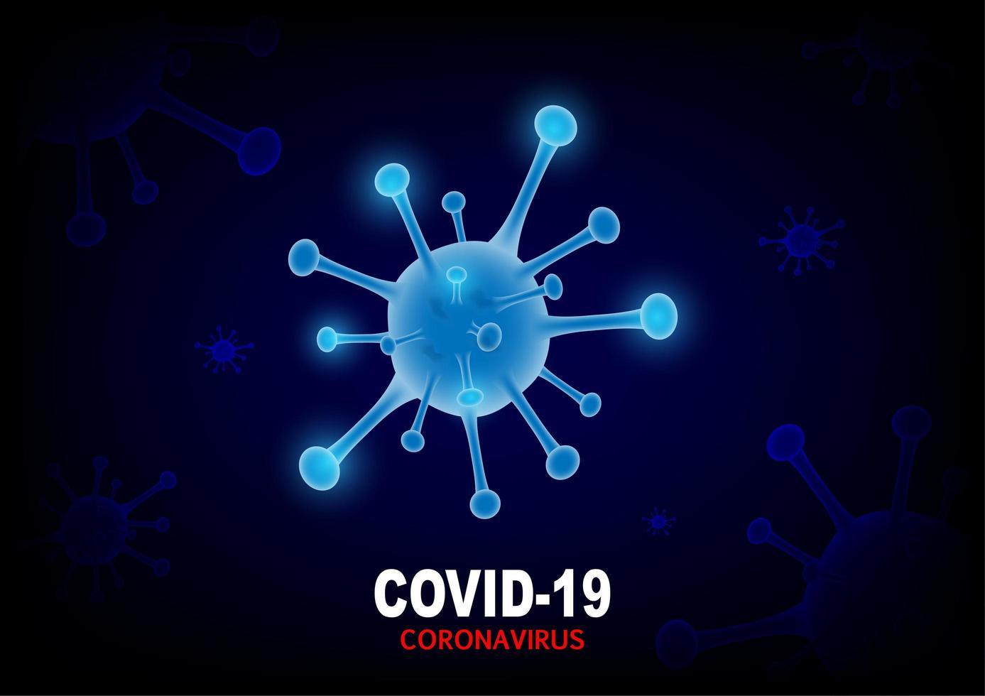 Diseño de coronavirus covid-19 con célula de virus azul brillante vector