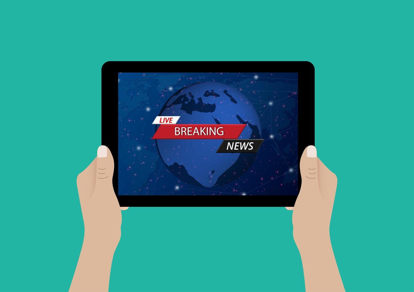 Artículo de noticias de última hora en línea en la pantalla de la tableta. vector
