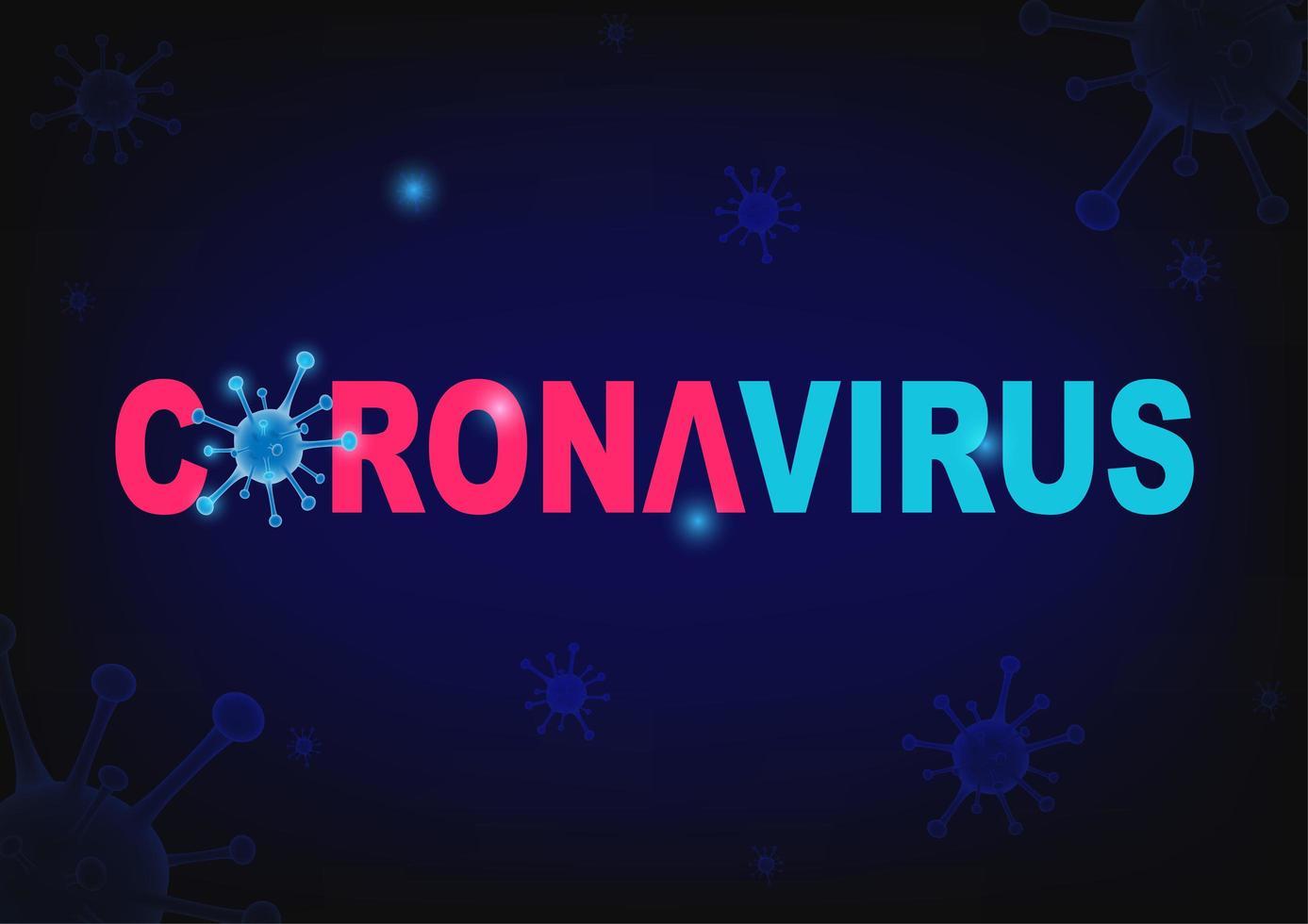 tipografía de coronavirus en el diseño de células de virus azules vector