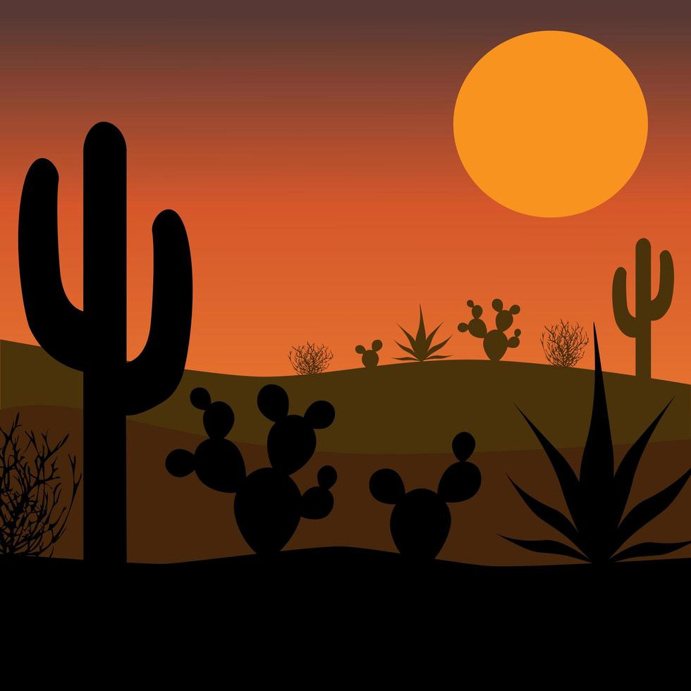 silueta de cactus del desierto con puesta de sol vector
