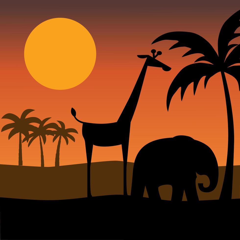 silueta de elefante y jirafa con puesta de sol vector