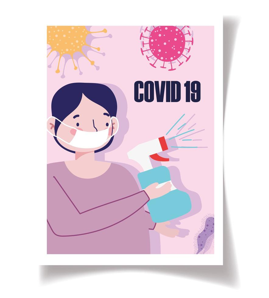 Coronavirus prevention poster template vector