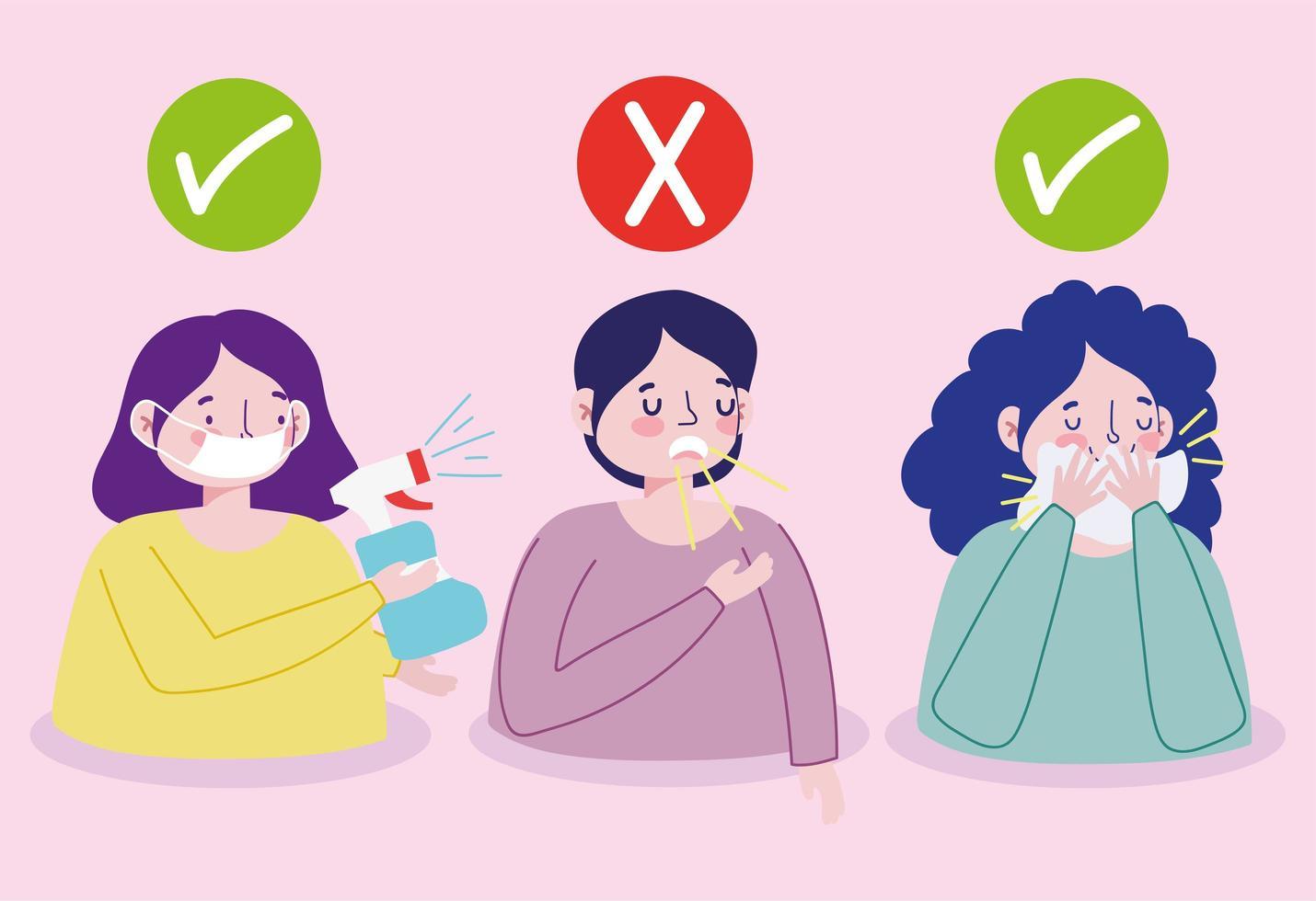personajes de prevención de infecciones virales vector