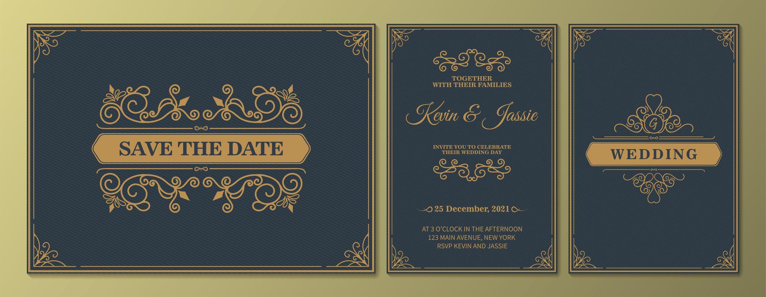 invitación de boda de lujo antiguo y guardar la fecha establecida vector