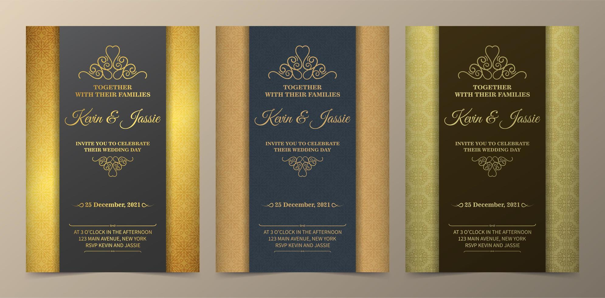 Gold and green vertical section wedding invite set vector