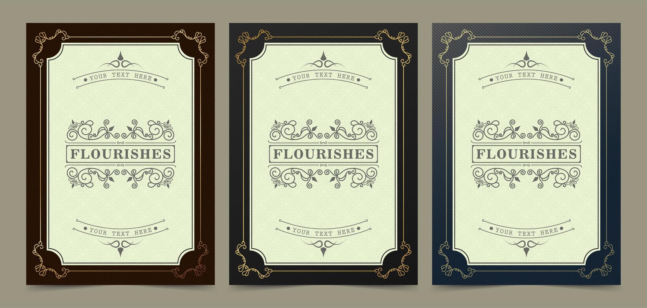 elegante conjunto de marcos de oro florecer vector