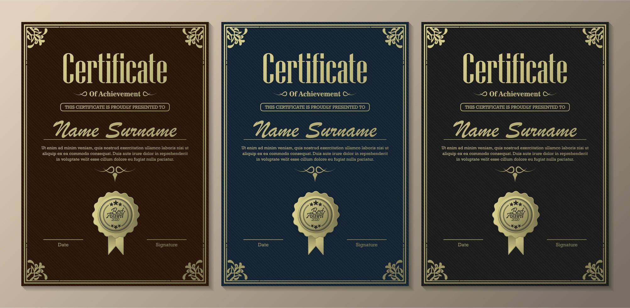 plantillas clásicas de certificado de logros vector