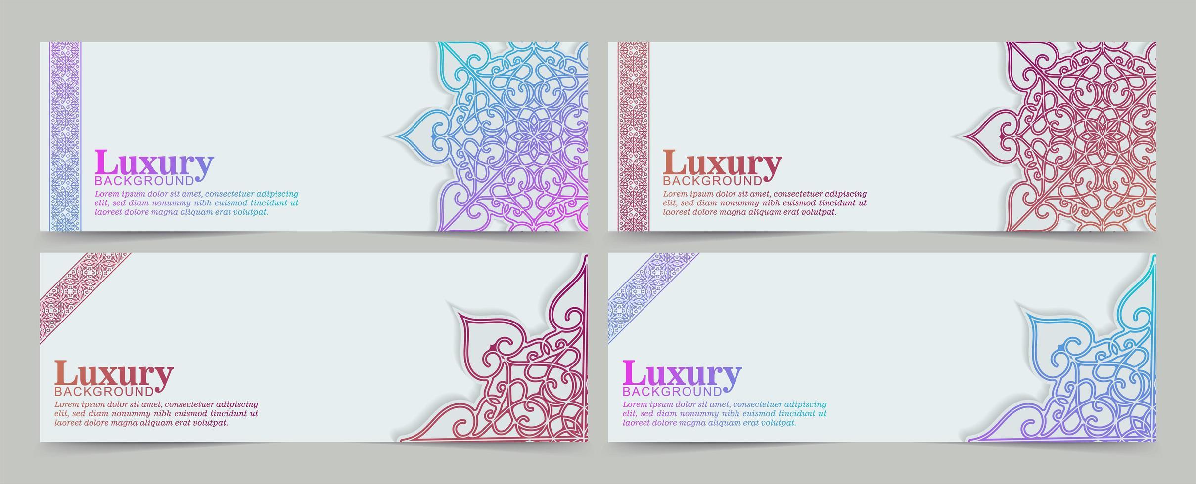 Vibrant gradient mandala decoration banner set vector