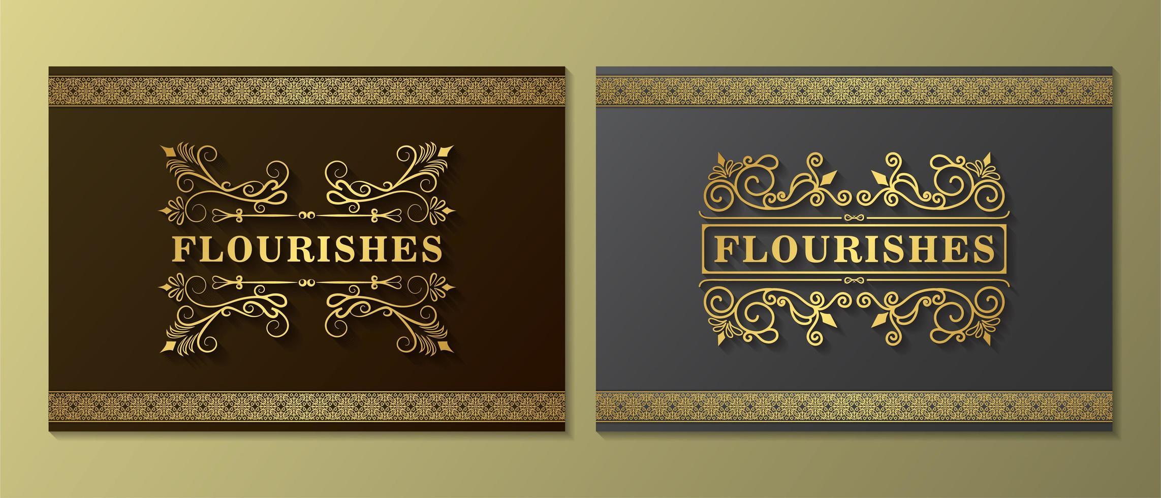 adorno vintage sombreado florecer conjunto de tarjetas vector