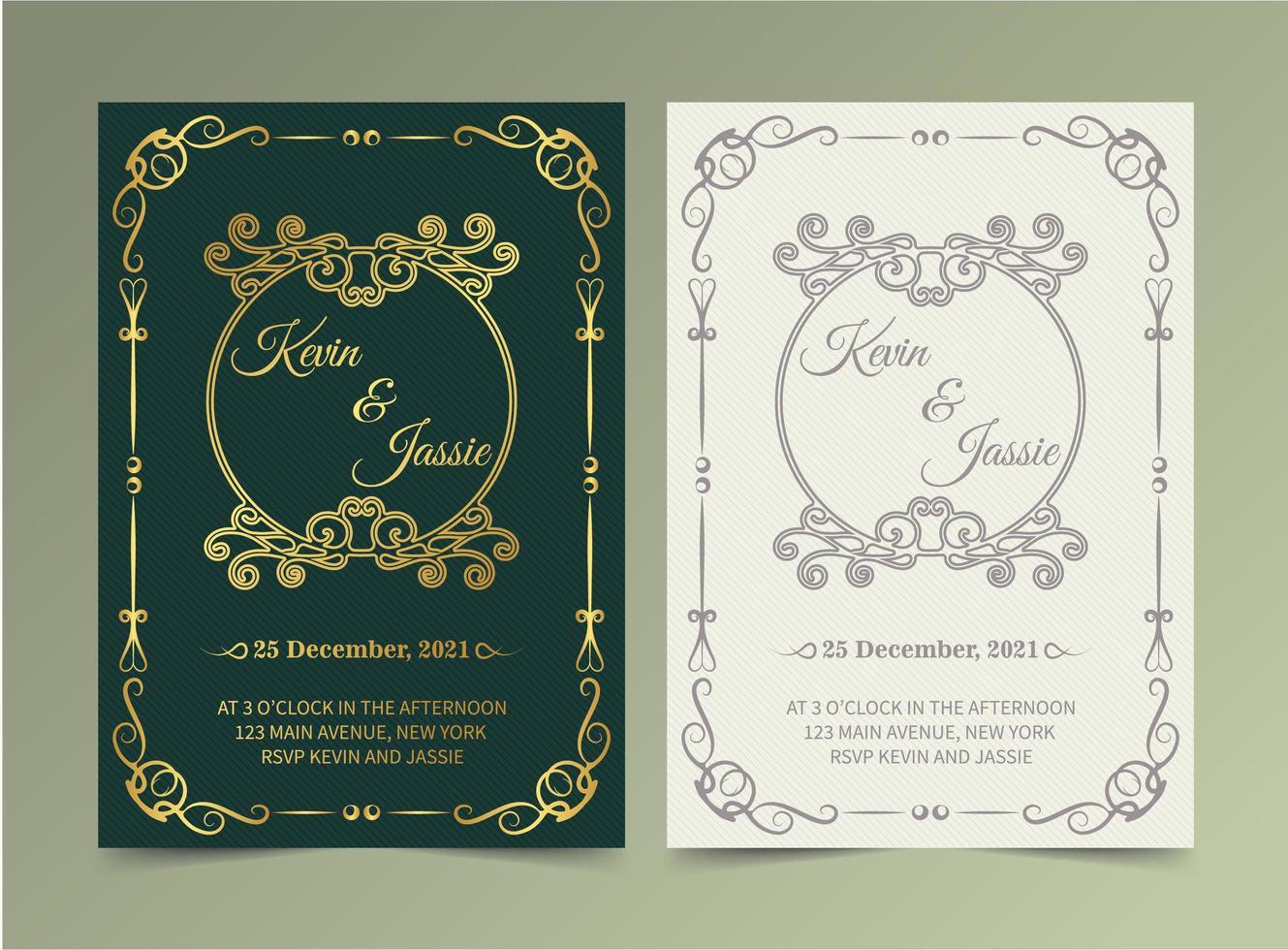 juego de tarjetas vintage de lujo verde y blanco vector