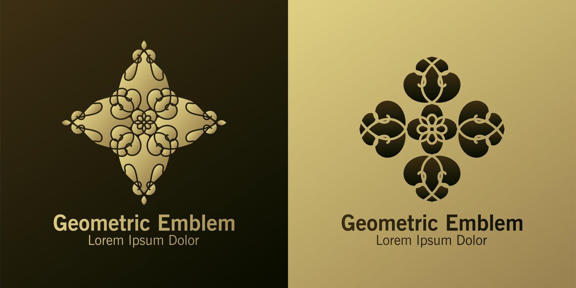 Conjunto de emblemas geométricos de diamantes marrones y dorados vector