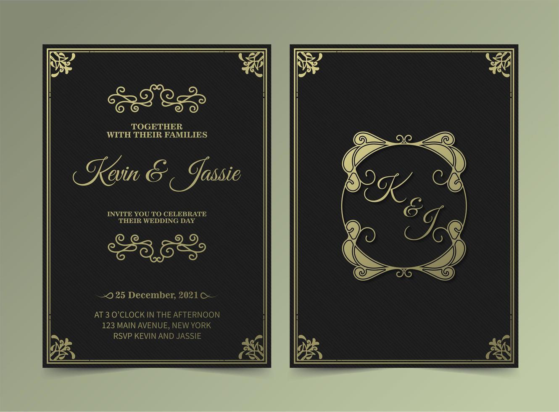 tarjetas de invitación de boda vintage de lujo vector
