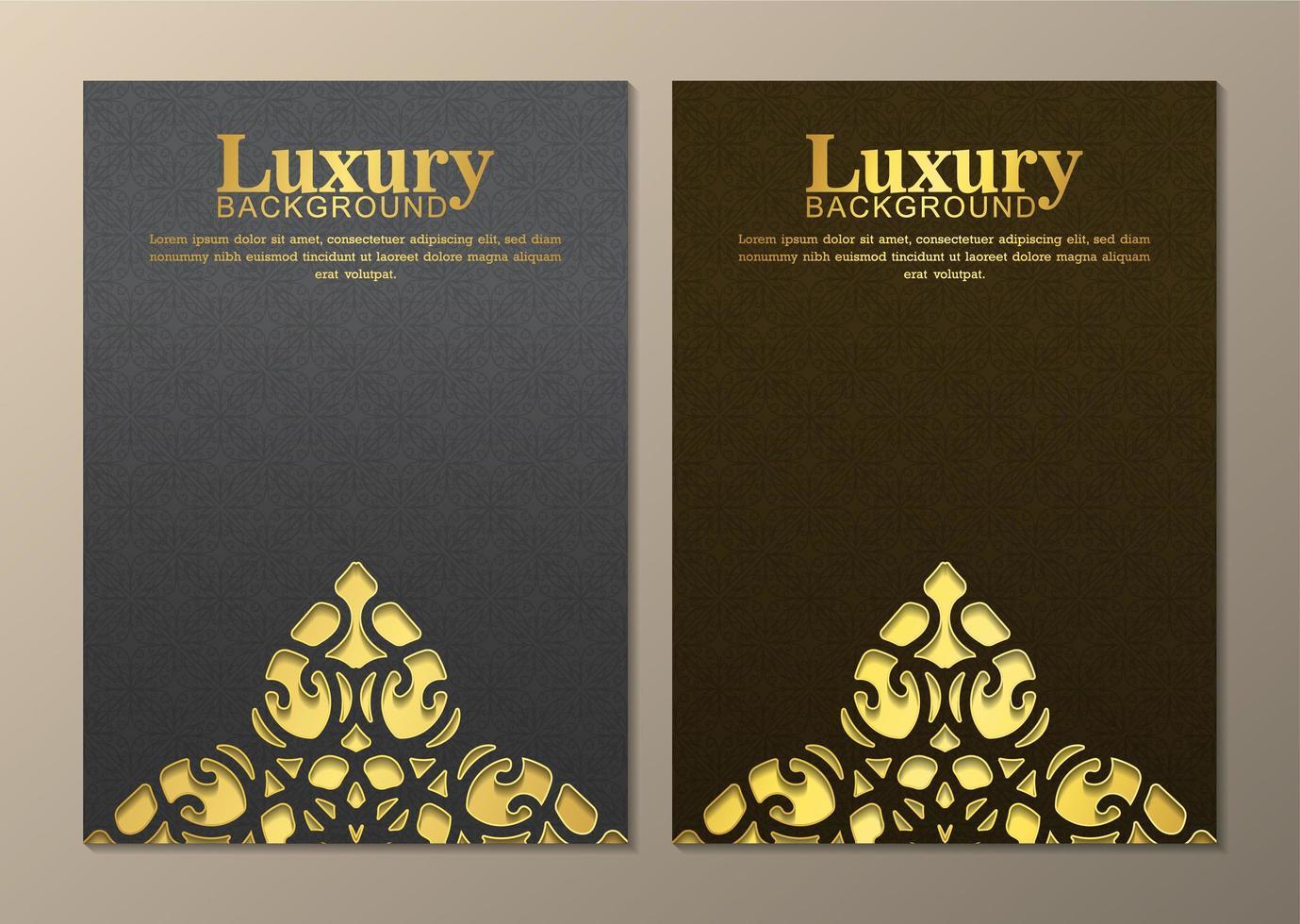 cubiertas de elementos ornamentales dorados grises y marrones vector