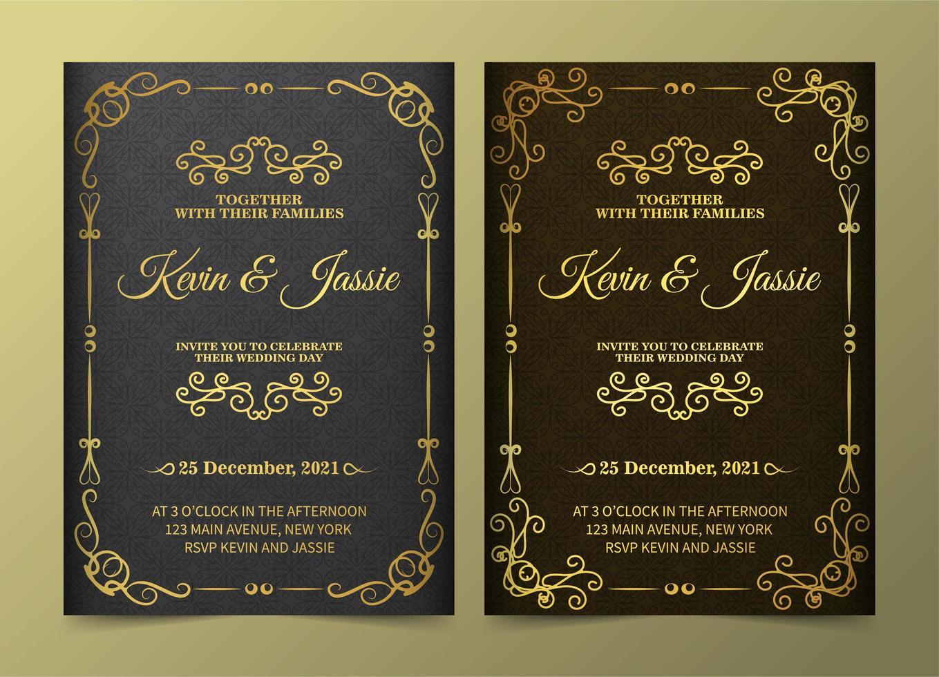 conjunto de tarjetas de invitación de adorno dorado vintage de lujo vector