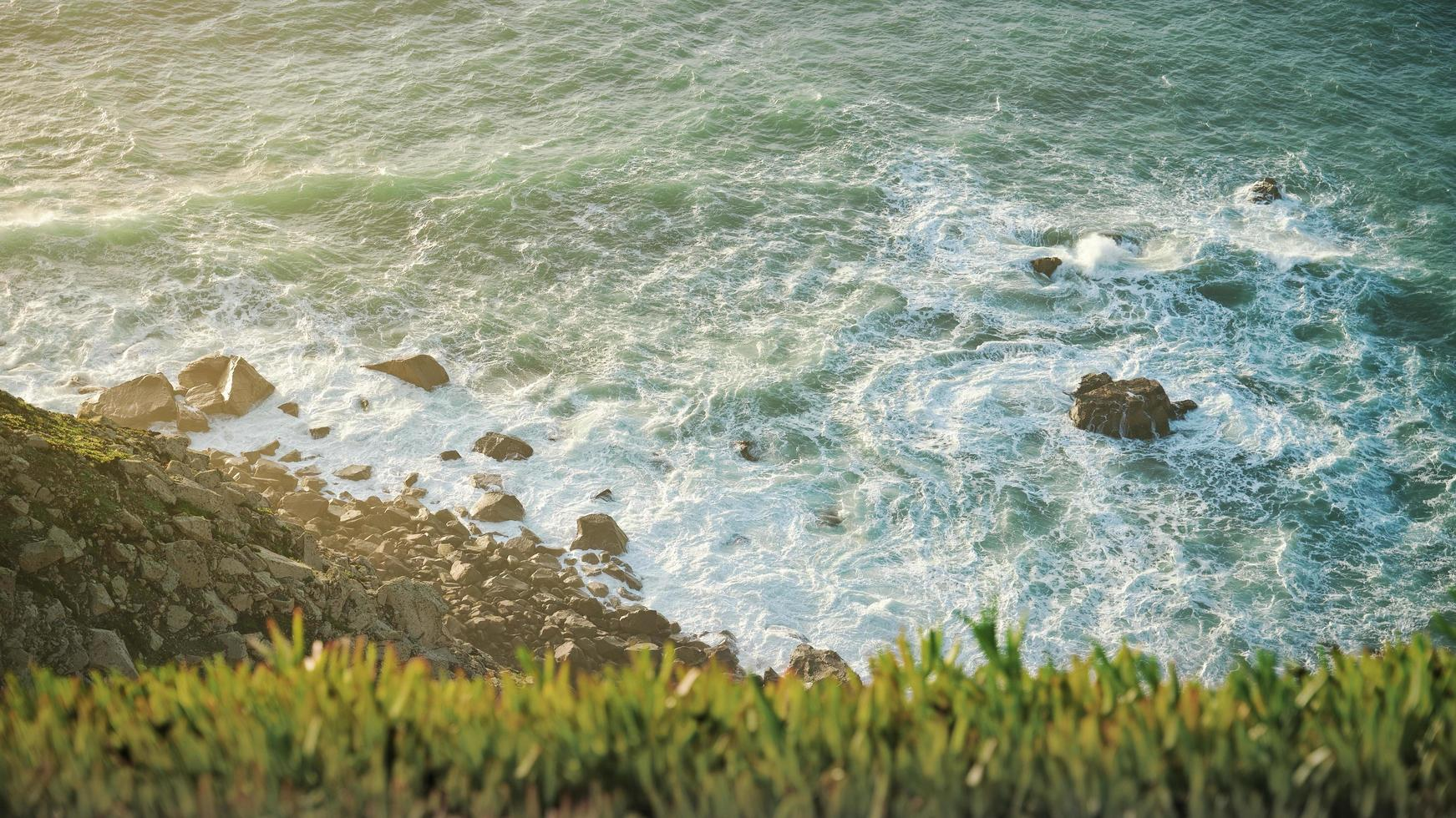 Aerial view of sea waves  photo