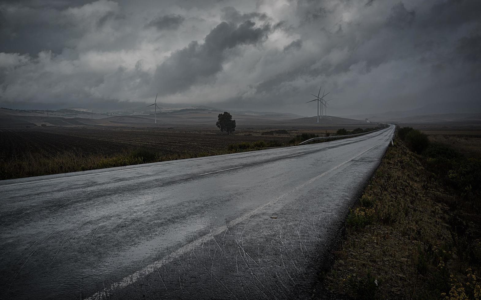 camino de asfalto gris foto