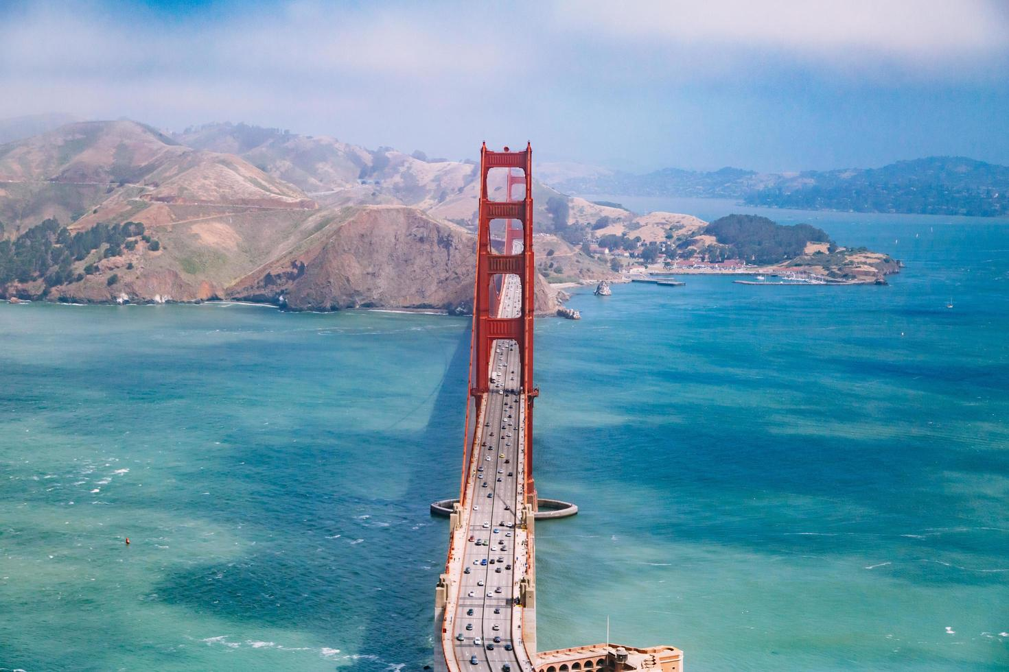 Aerial view the Golden Gate Bridge during the day photo