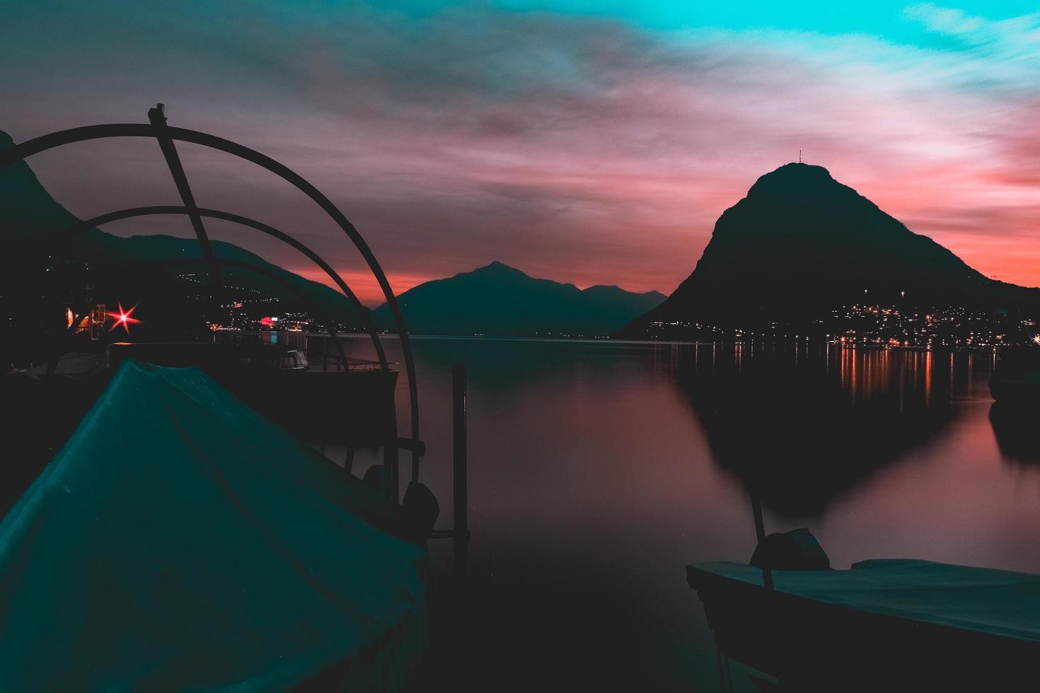 Silhouette of mountain  photo