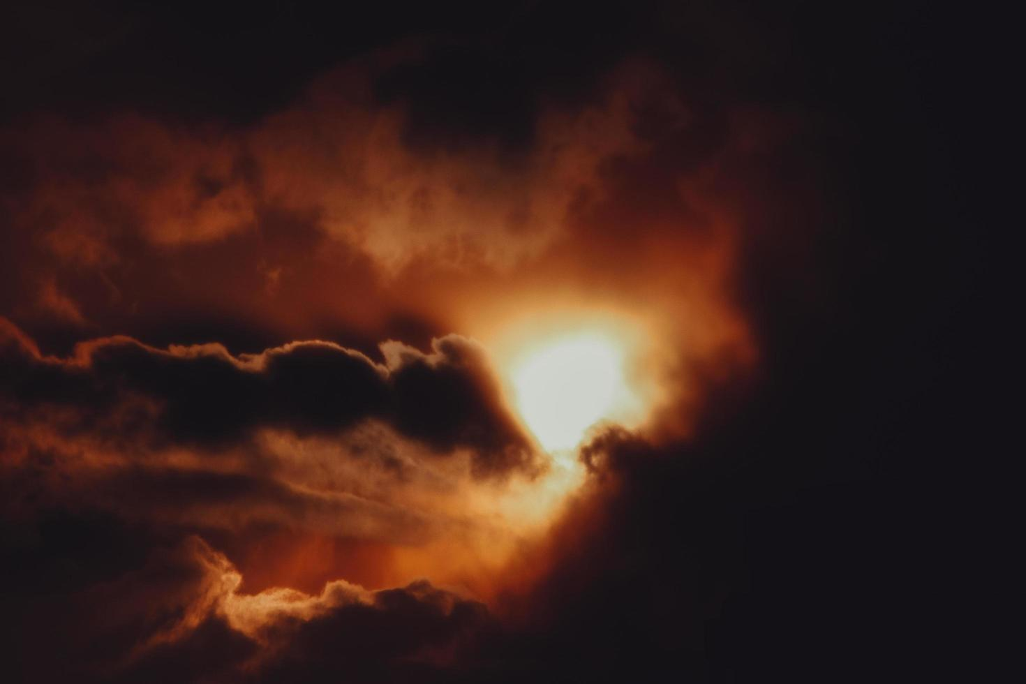 Orange and black clouds during sunset photo