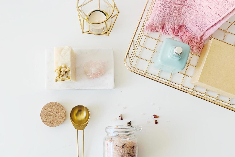 Bath accessories on white background photo
