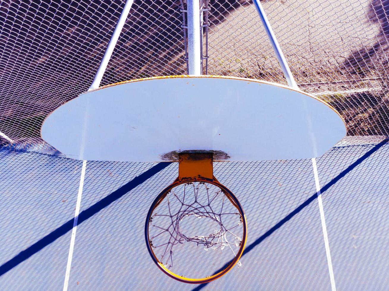 vue de dessus du panier de basket pendant la journée photo