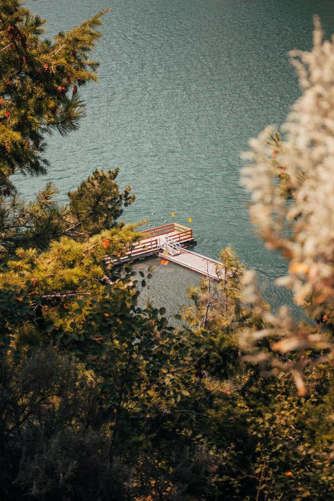 Aerial photography of boat dock photo