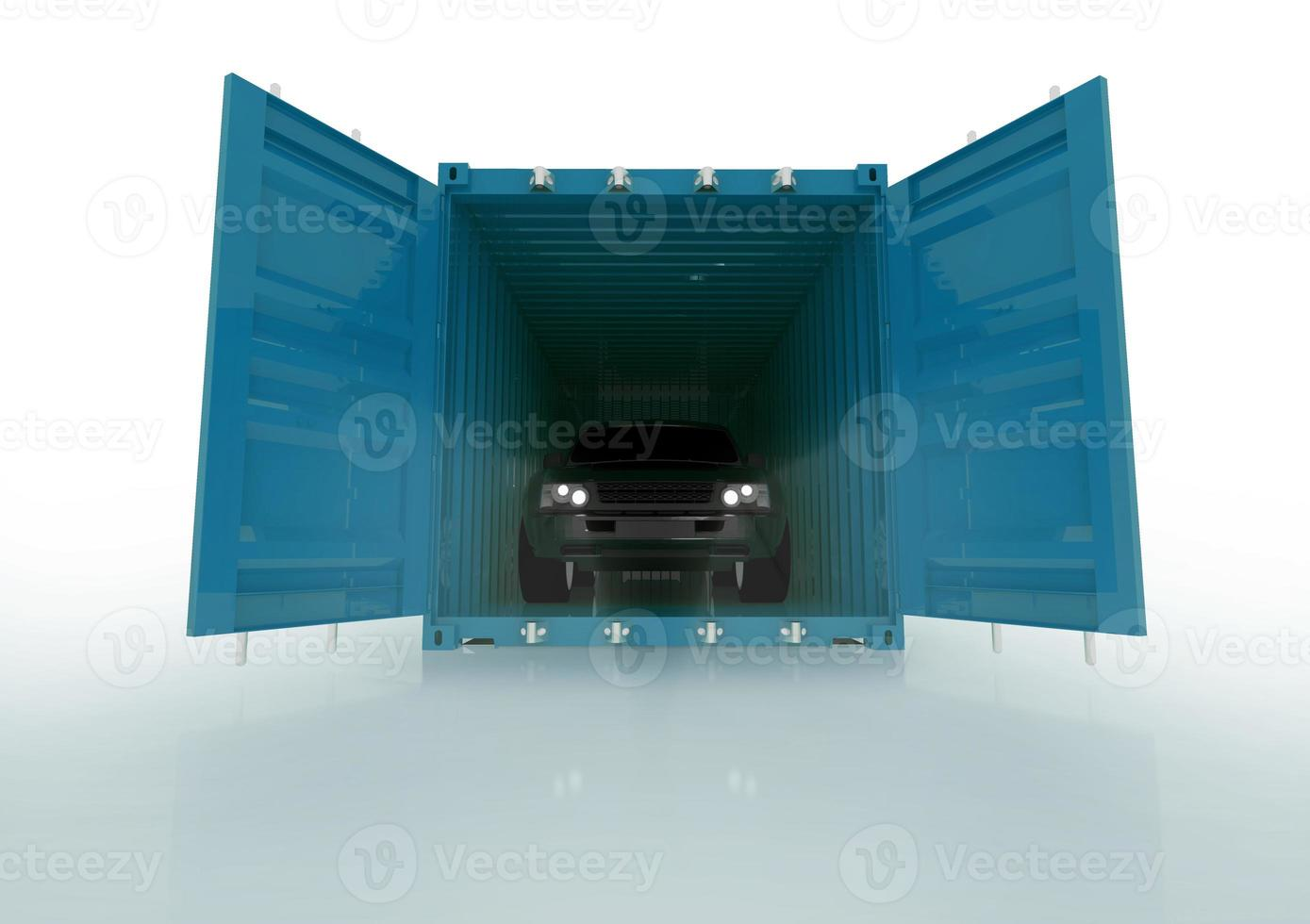 render illustration of a car inside blue container photo