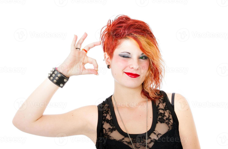 heavy metal vrouw zegt oké foto