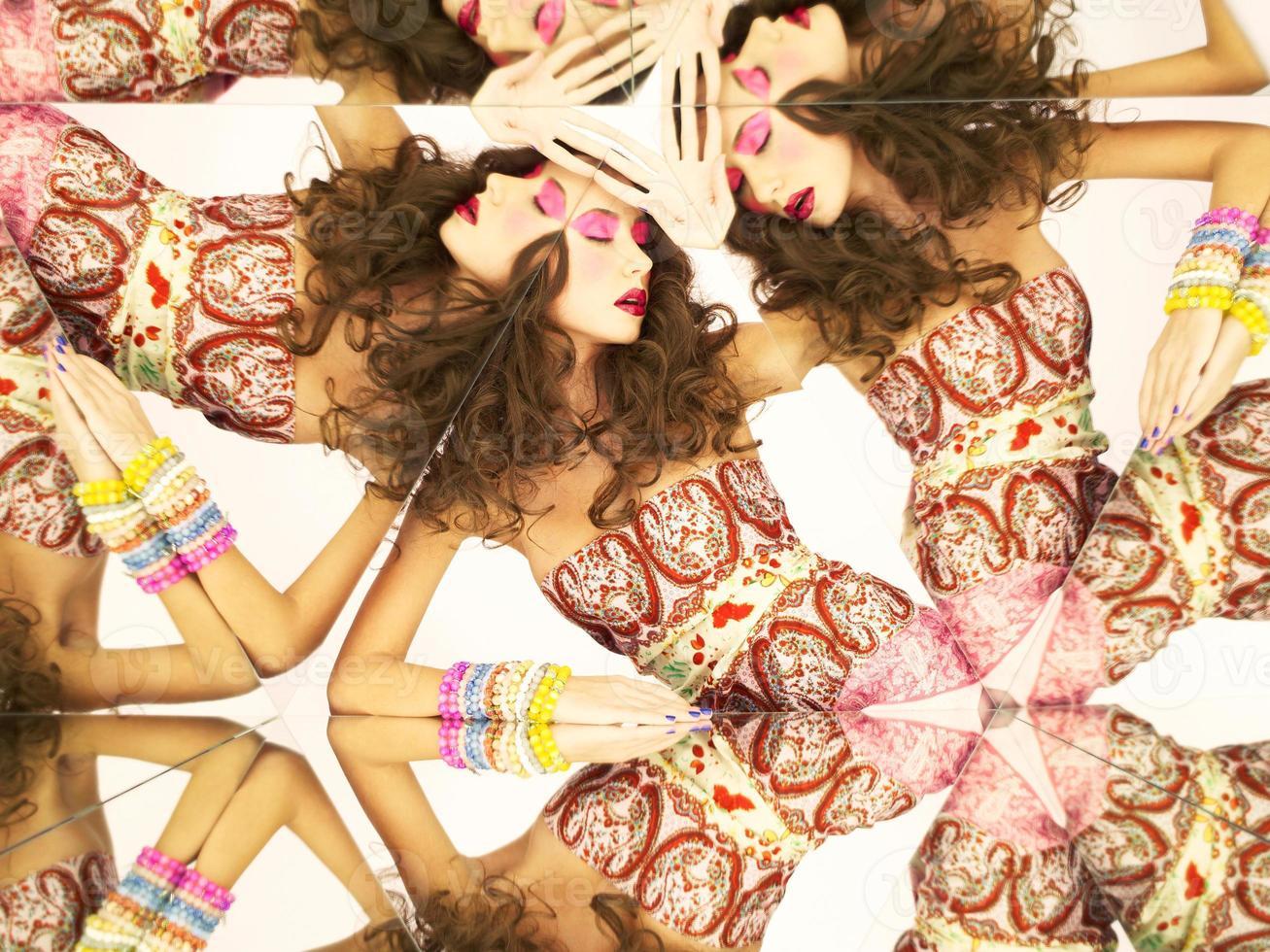 Bright brunette in kaleidoscope photo