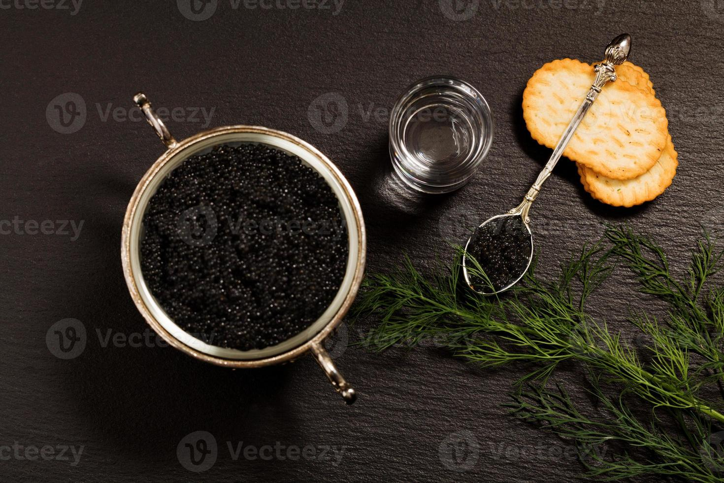 caviar negro servido sobre galletas saladas con vodka y aditivos foto
