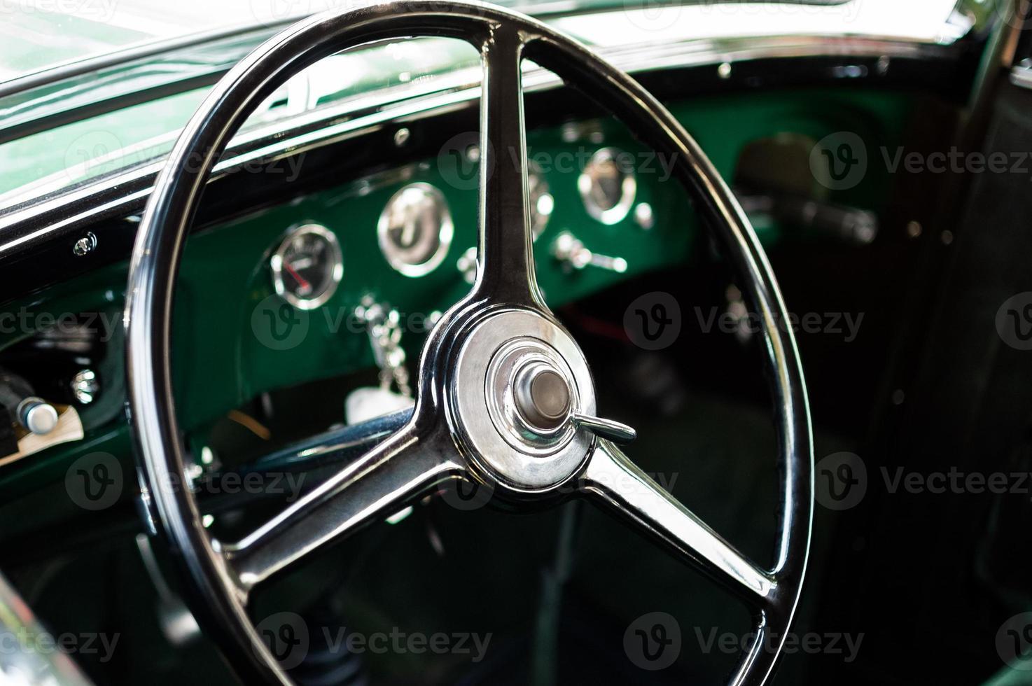 Retro car steering wheel photo