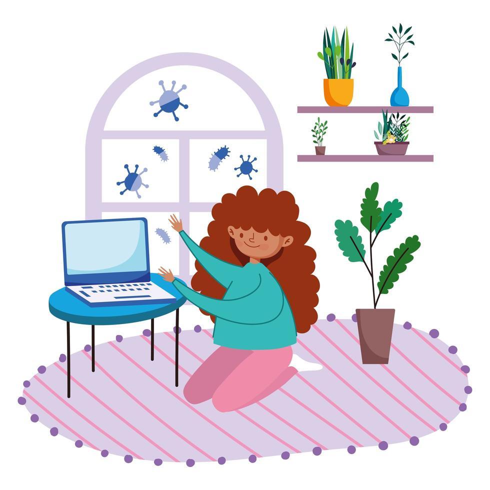 chica usando laptop en el interior vector