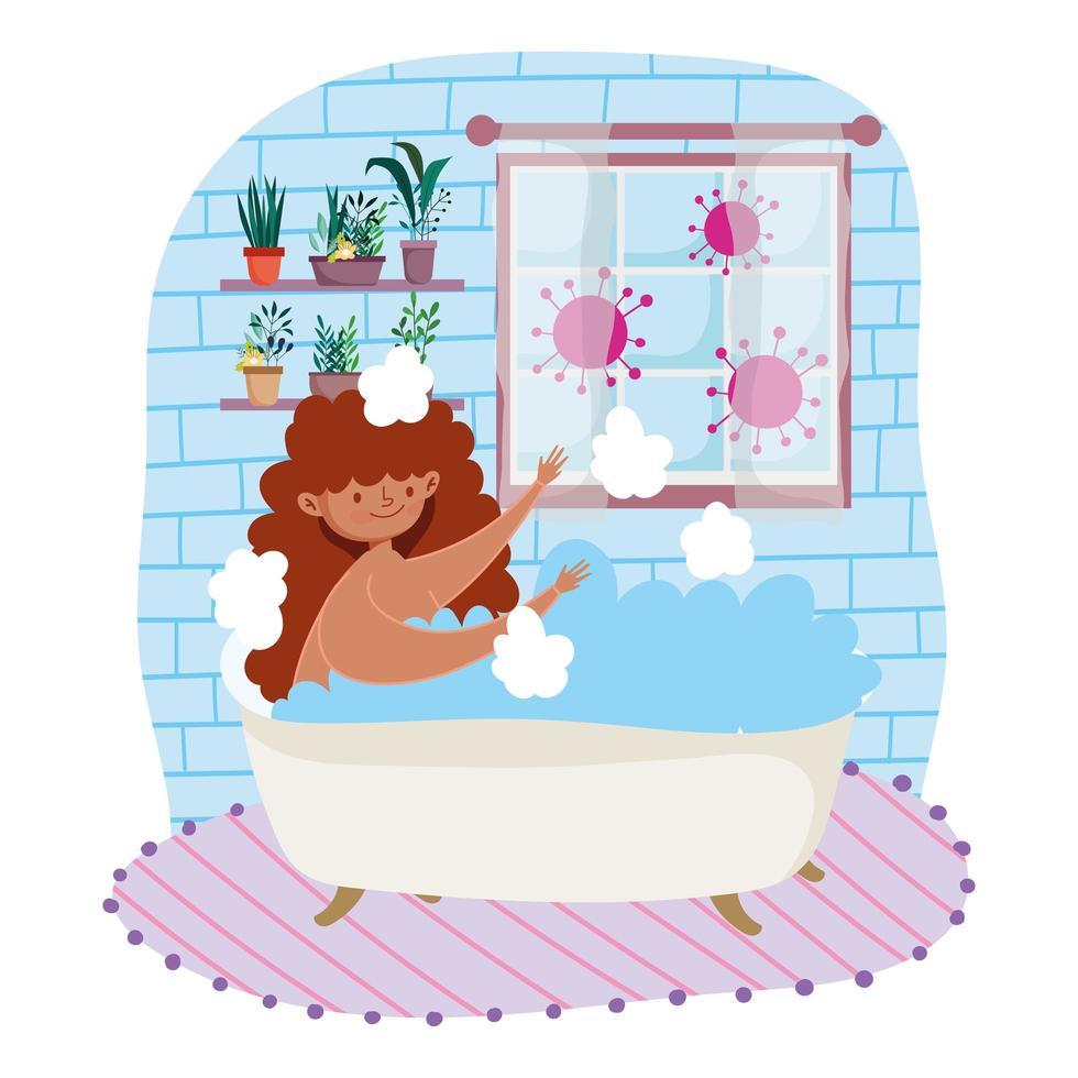 mujer joven, tomar un relajante baño vector