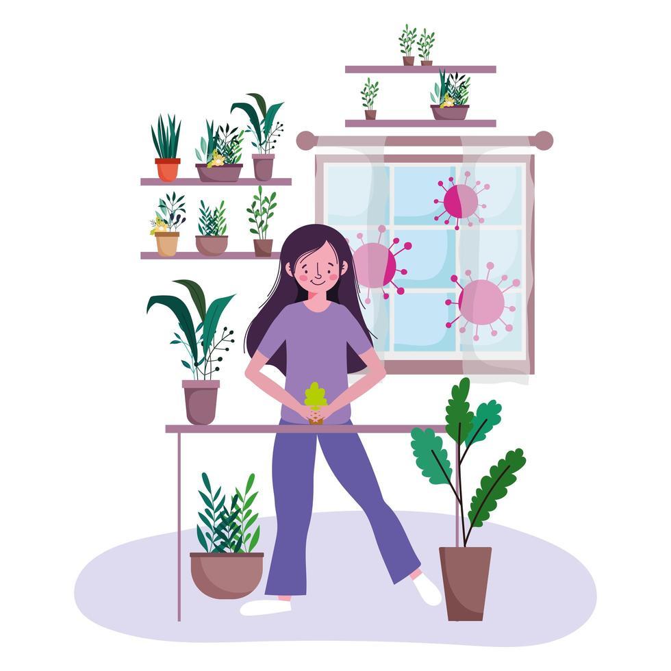 Mujer joven con plantas en macetas en el interior vector