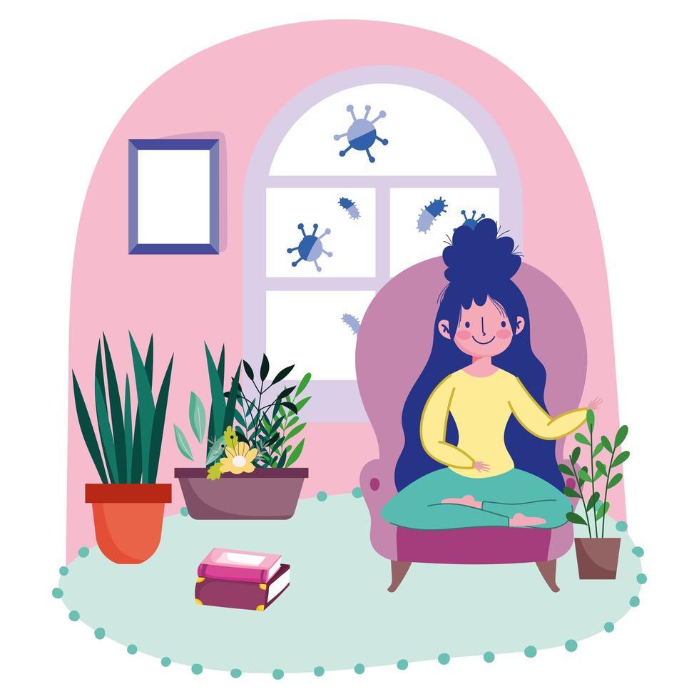 mujer joven en la silla con plantas vector